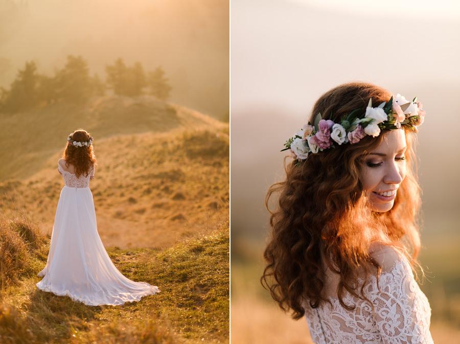 panna młoda w górach, suknia ślubna, suknia ślubna z trenem, wianek ślubny