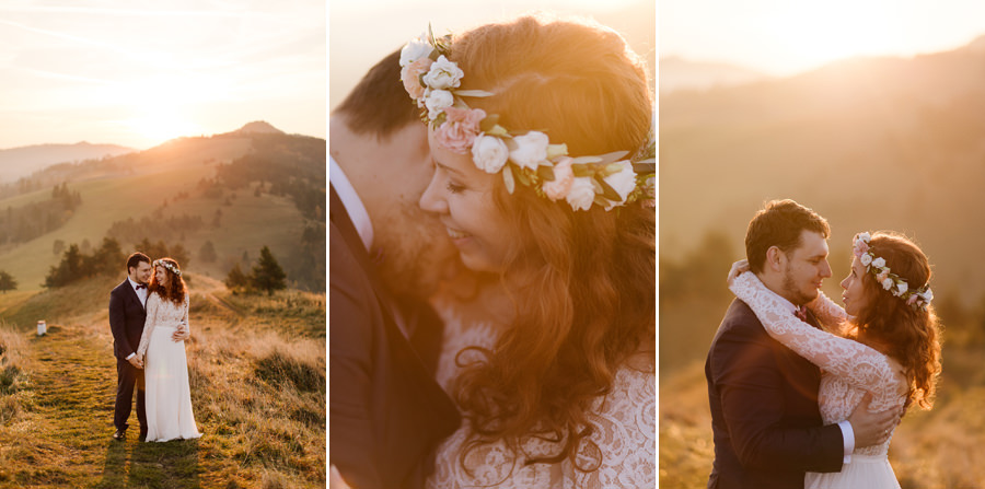 para młoda, sesja poślubna w górach, wianek ślubny, para młoda w górach