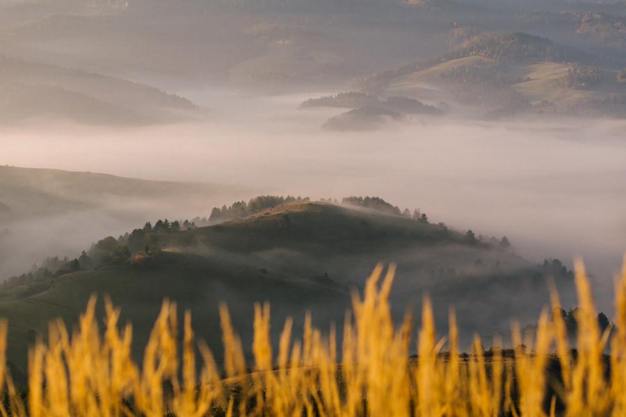 fotografia krajobrazowa, Pieniny we mgle, wschód słońca w Pieninach