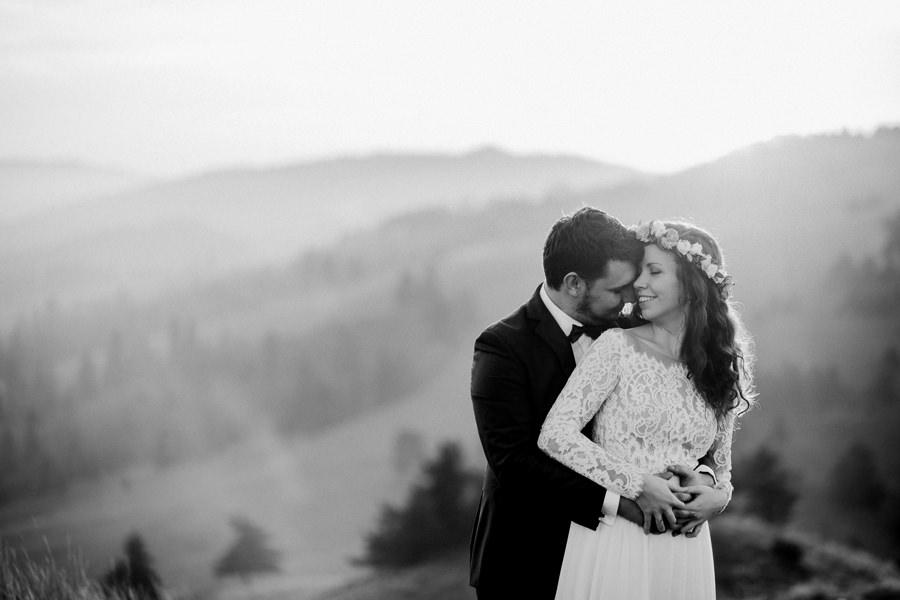 fotografia ślubna, portret ślubny, para młoda, plener poślubny Pieniny