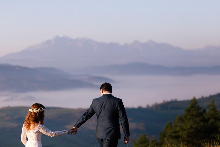 sesja w Tatrach, sesja poślubna w Tatrach, para młoda w górach