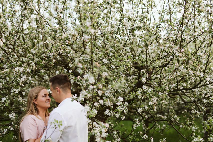 Wiosenna sesja narzeczeńska w sadzie