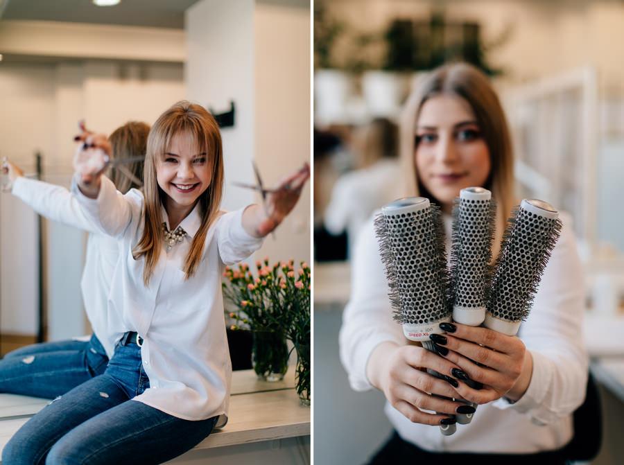 zdjęcie wizerunkowe fryzjerki, zdjęcie fryzjerki w pracy, zdjęcie wizerunkowe